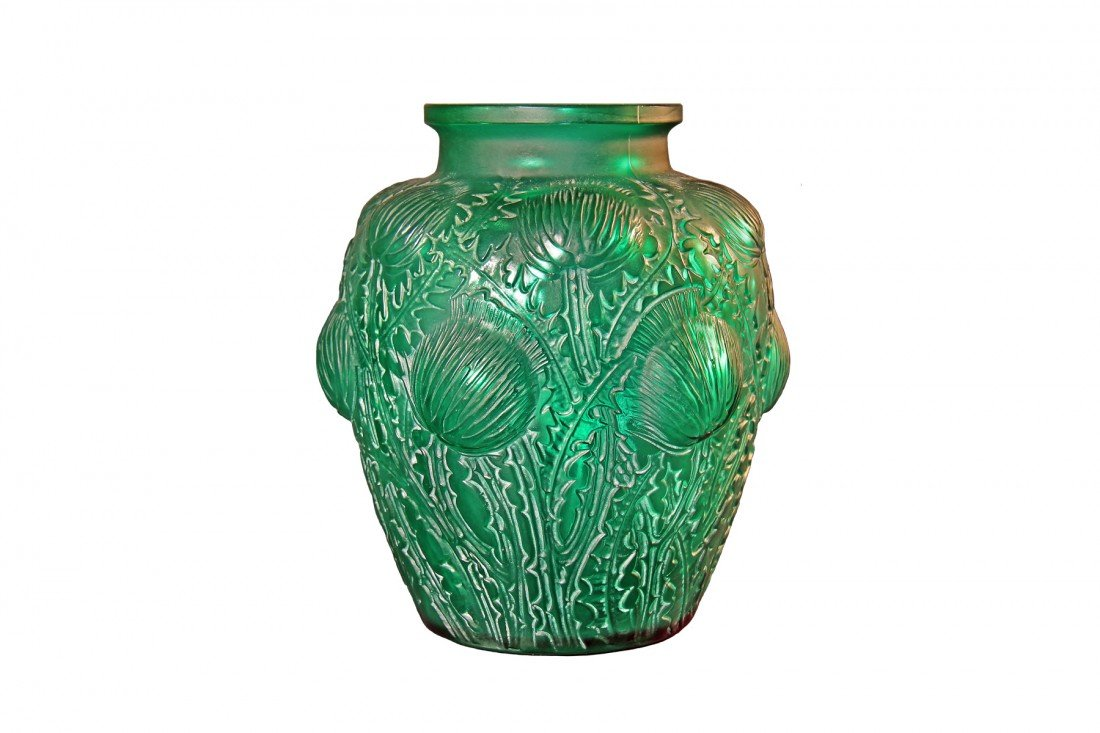"R. Lalique Vase, ""Domremy,"" c.1926, emerald green glass"
