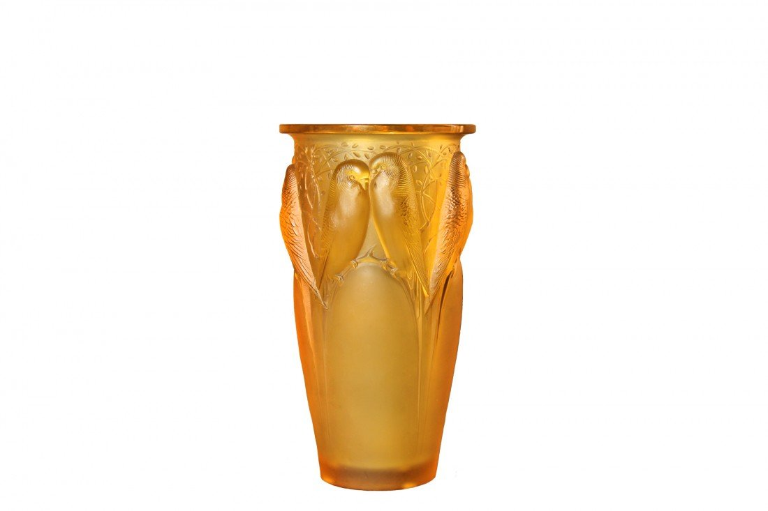 "R. Lalique Vase ""Ceylon"" in yellow glass, Circa 1924"
