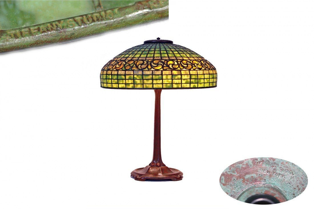 "A Tiffany  ""Swirling Leaf"" Glass and Bronze Table Lamp"