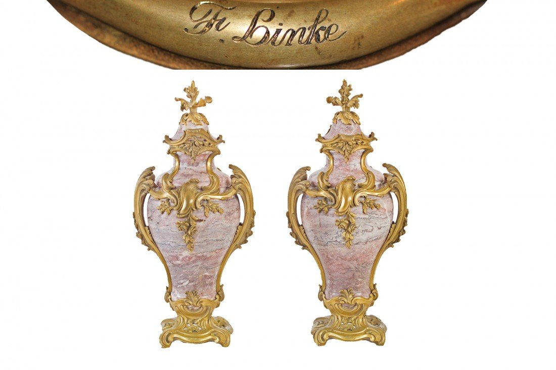 A beautiful pair of french ormolu-mounted marble va