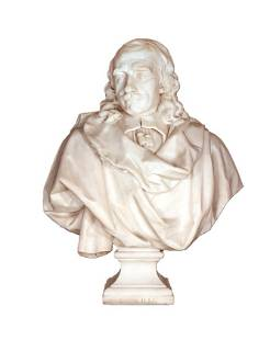 A French white marble bust of Corneille, after Caff