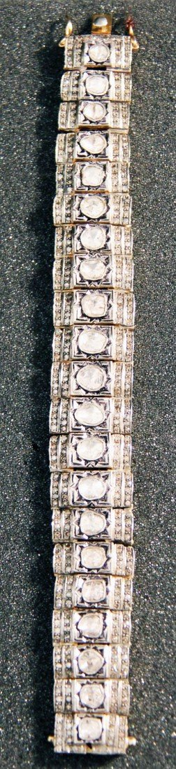 Vermeil hinged link bracelet with 21 rose cut diamonds