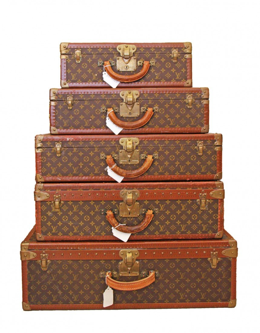 "5 (five) Louis Vuitton Hard Back ""Alzer"" Suitcases"