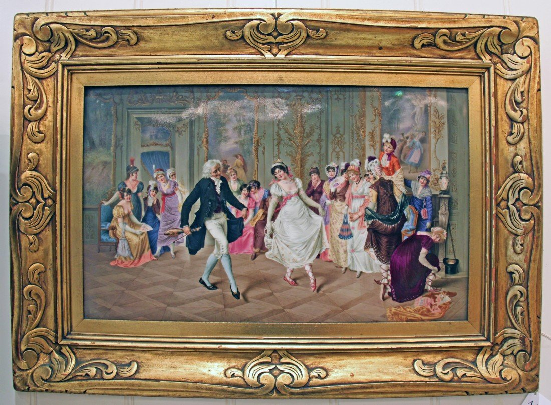 """The Dance Lesson""  KPM , 19th century,  12.5""X19 3/4"""