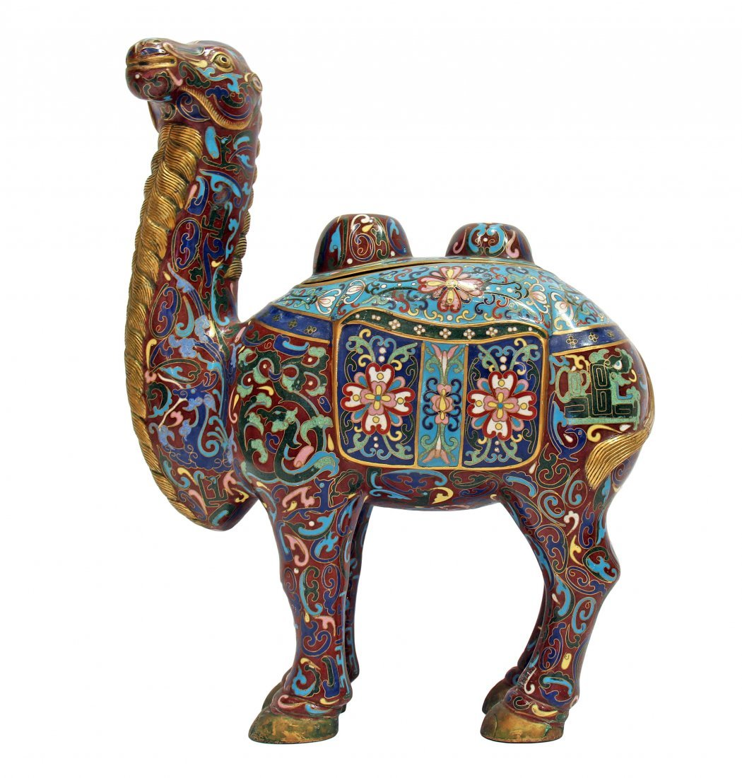 CHINESE CLOISONNÉ ENAMEL FIGURE OF A CAMEL, 20TH C