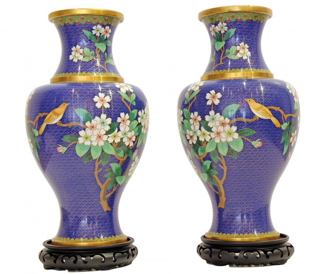 PAIR OF CHINESE CLOISONNÉ ENAMEL VASES, 20TH CENTURY
