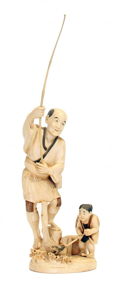 JAPANESE CARVED IVORY GROUP OF FISHERMEN, TAISHO P.