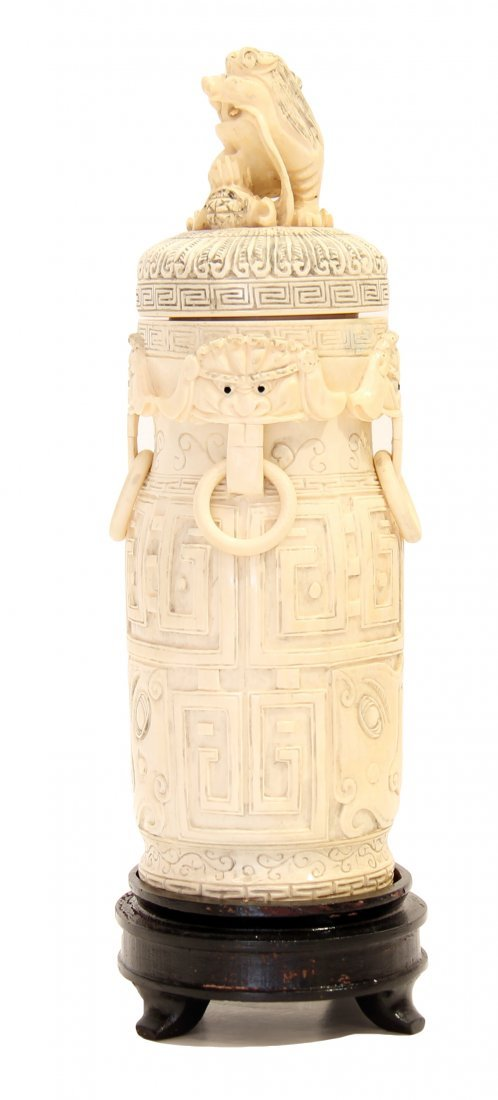 CHINESE CARVED IVORY VASE AND COVER, 20TH CENTURY