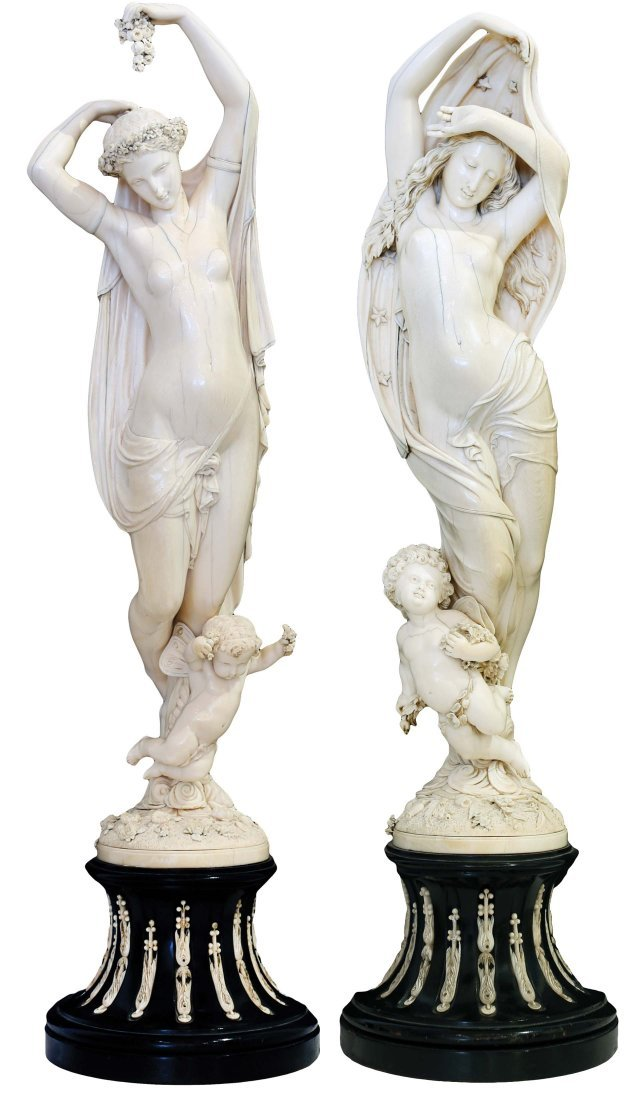 "IMPORTANT PR  IVORY ""NIGHT & DAY"" FIGURES, 19TH CENTURY"