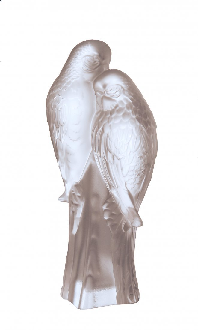 """LALIQUE """"DEUX PERRUCHES"""", FRENCH, MODERN."""