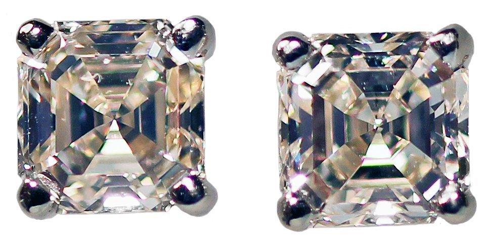 PLATINUM ASSCHER CUT DIAMOND EARRINGS.