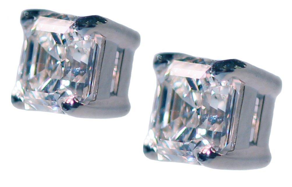 PLATINUM ASSCHER CUT DIAMOND EARRINGS. - 2