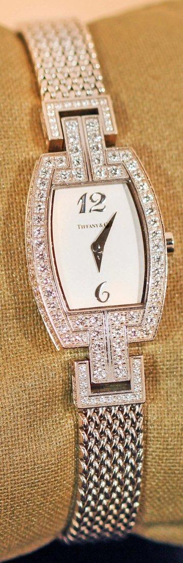 18K WHITE GOLD LADIES DIAMOND WATCH, TIFFANY & CO