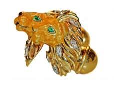 18 KARAT GOLD, DIAMOND, EMERALD & ENAMEL LION CUFFLINKS