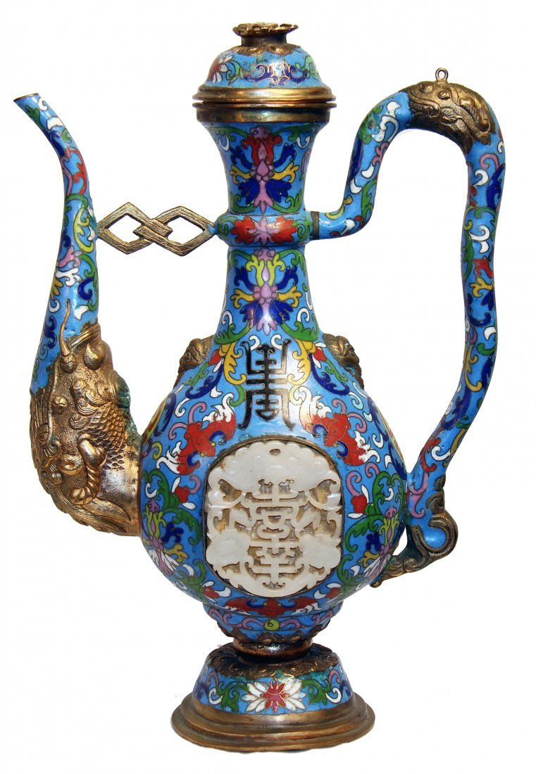 JADE MOUNTED CLOISONNE AND BRONZE EWER, CHINESE
