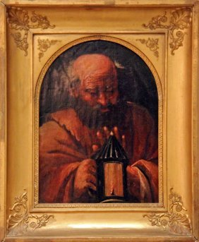 MILANESE SCHOOL, DIOGENES & ARCHIMEDES, PAIR PAINTINGS