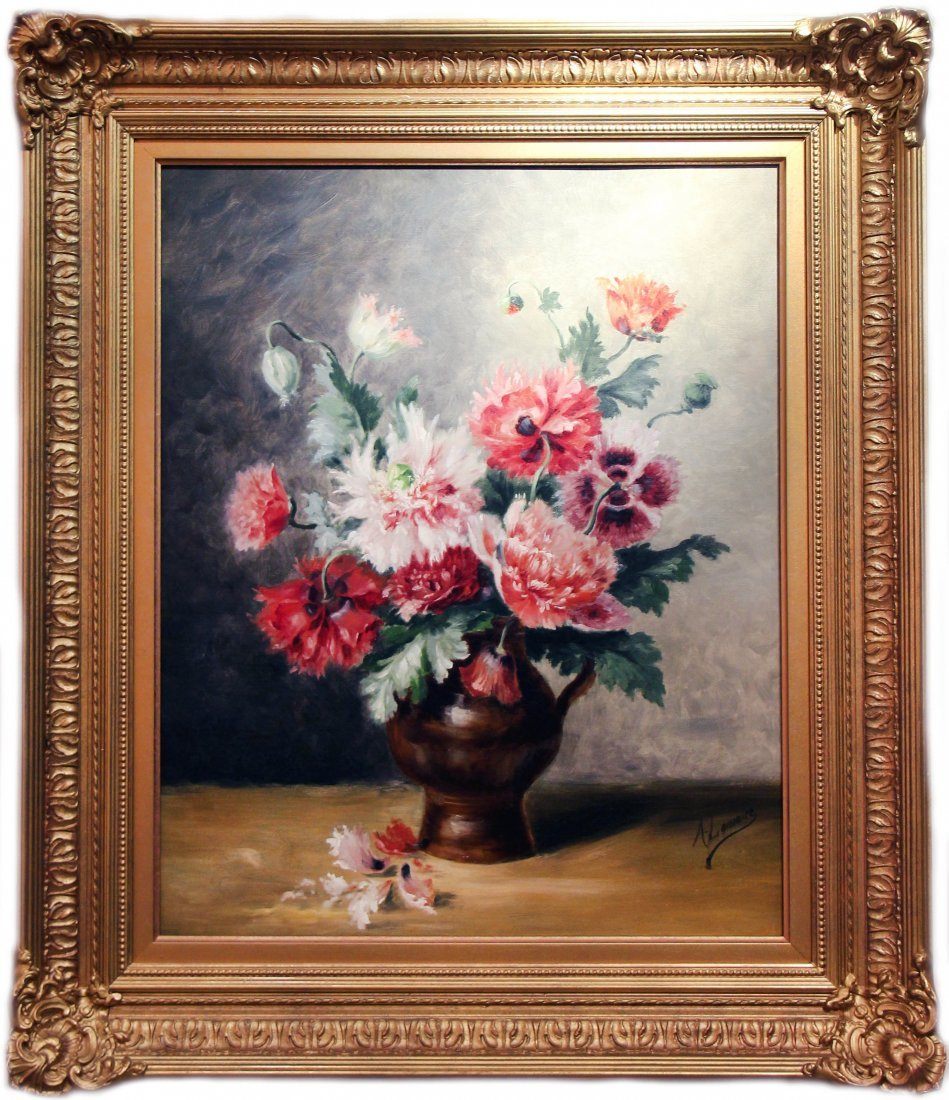 AMELIE LEMAIRE, FRENCH PAIR FLORAL STILL LIFE PAINTINGS