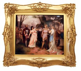 FINE KPM PORCELAIN PLAQUE, BERLIN, AN OPERETIC SCENE