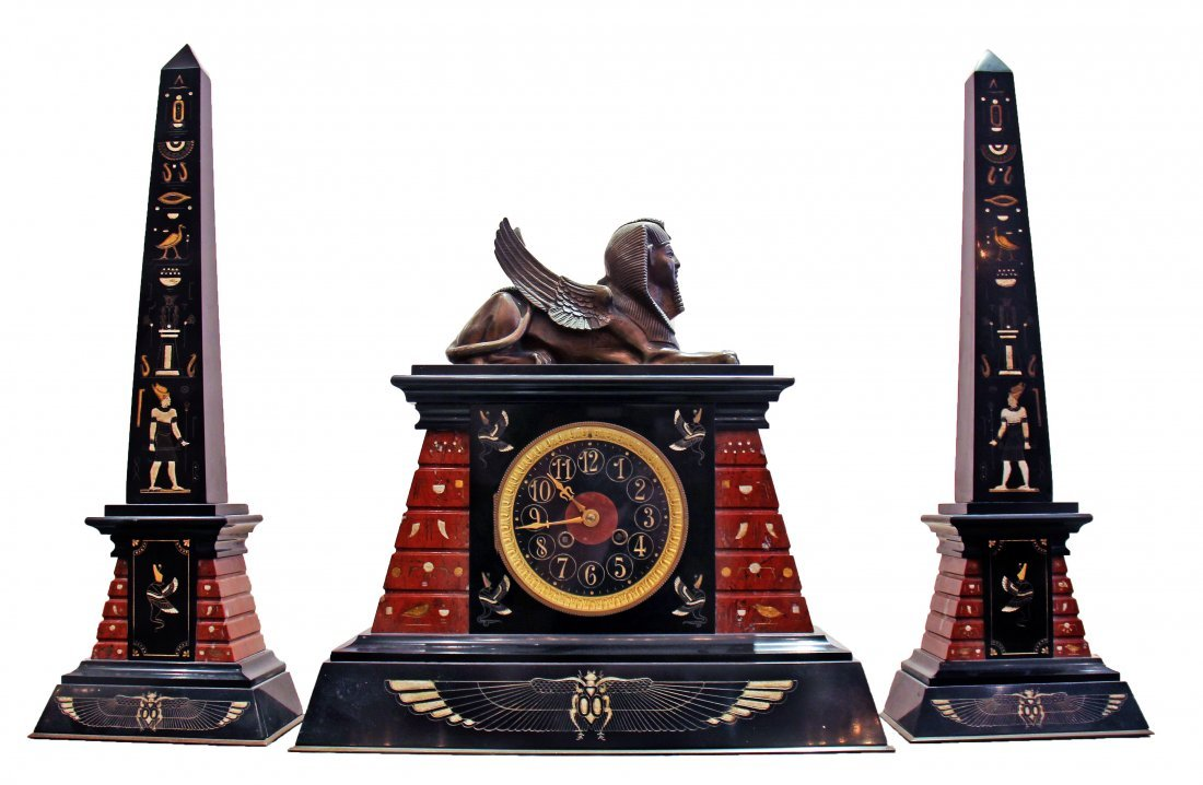 EGYPTIAN REVIVAL RED AND BLACK MARBLE CLOCK GARNITURE
