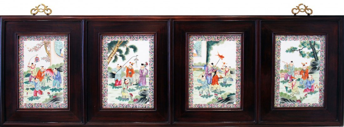 SET OF FOUR CHINESE ENAMEL PAINTED PORCELAIN PLAQUES