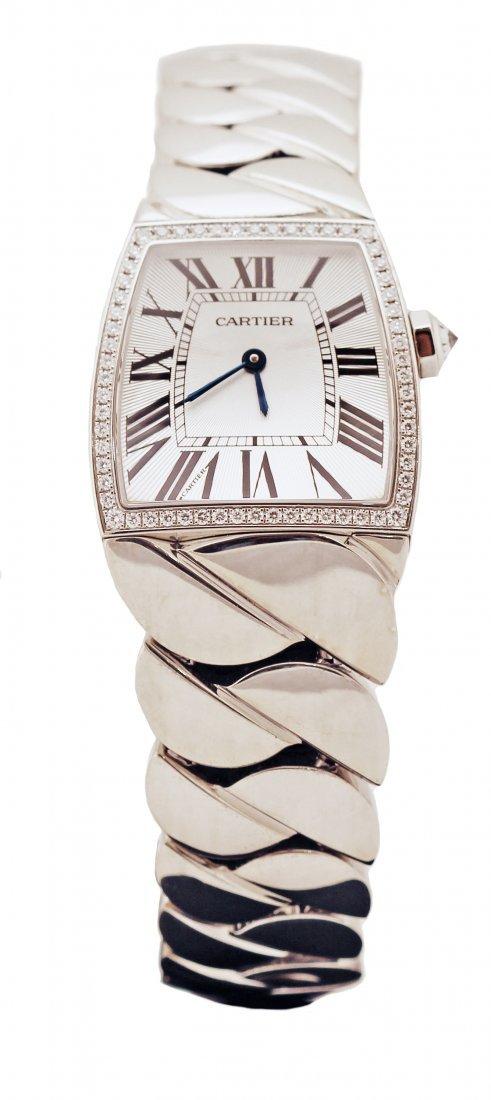 CARTIER LA DONA LADY 18K WHITE GOLD DIAMOND WRISTWATCH