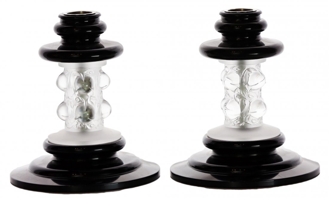"""5: LALIQUE BLACK AND CLEAR CRYSTAL """"THORN"""" CANDLESTICKS"""