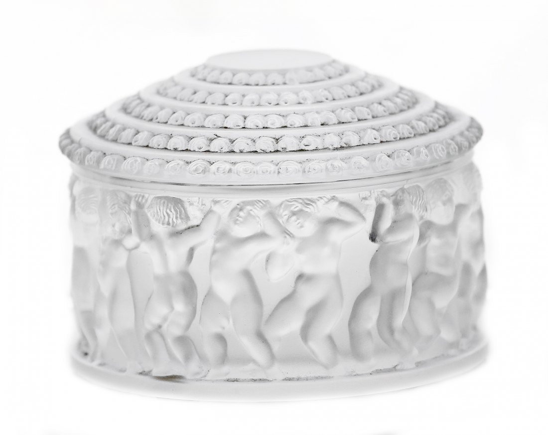 """7: LALIQUE CLEAR AND FROSTED CRYSTAL """"ENFANTS"""" BOX"""