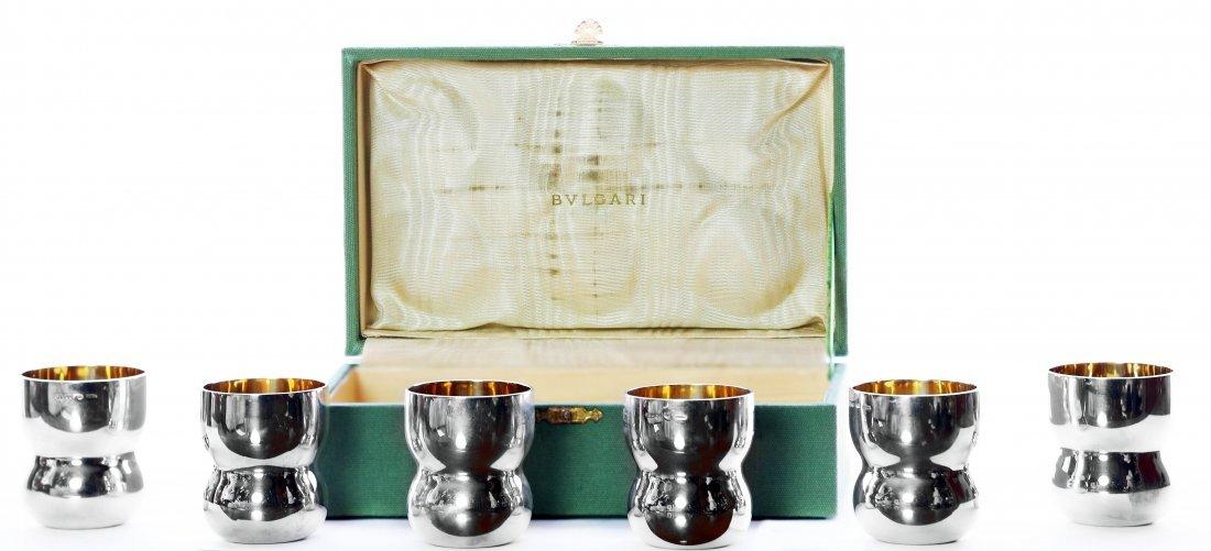8: BULGARI SIX PIECE STERLING SILVER CUP SET