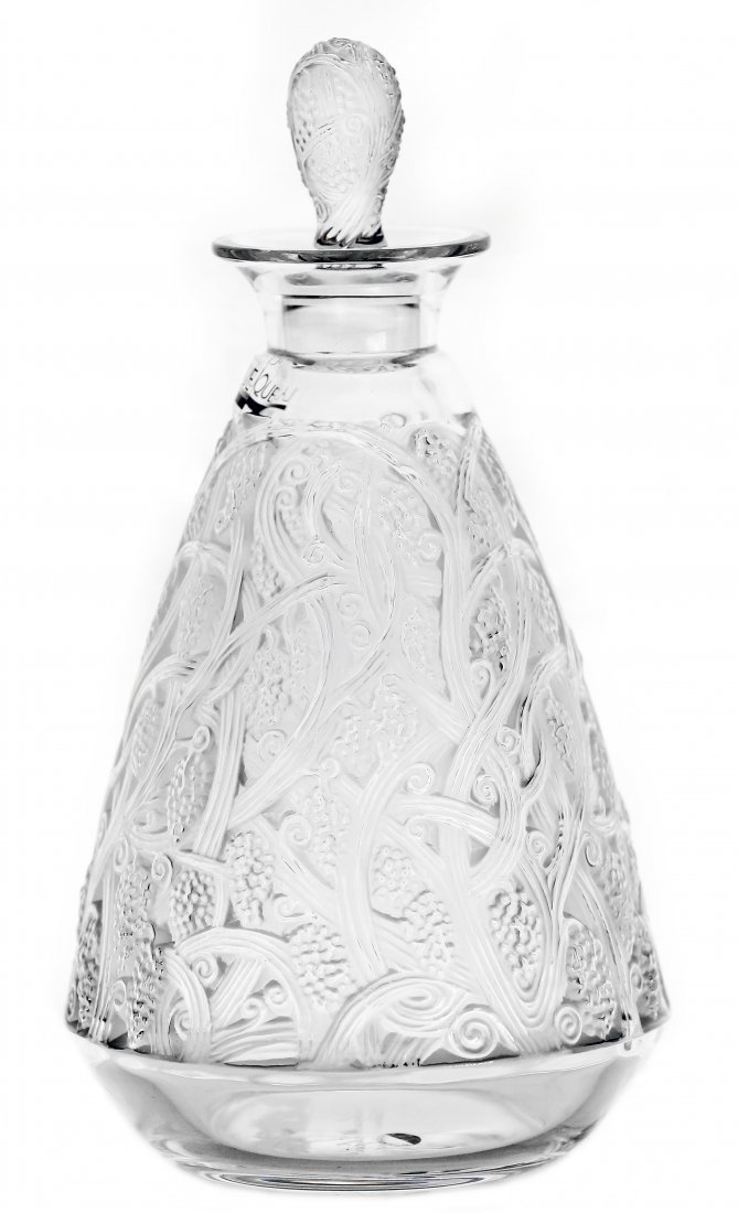 """9: LALIQUE CLEAR AND FROSTED CRYSTAL """"CEP"""" DECANTER"""