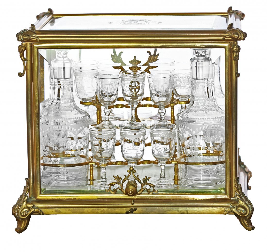 13: FRENCH ORMOLU AND ETCHED GLASS TANTALUS BY TAHAN