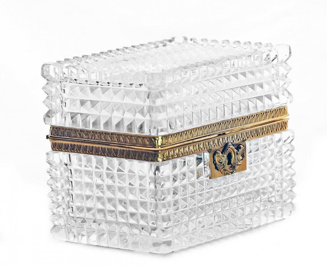 18: FRENCH BRASS MOUNTED CUT GLASS BOX