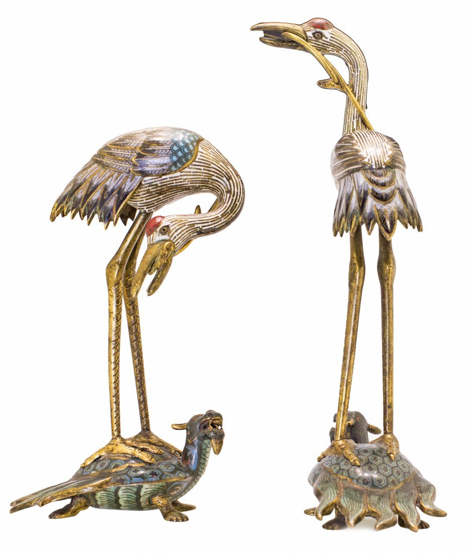 1: PAIR OF CHINESE CLOISONNE ENAMEL FIGURES OF CRANES