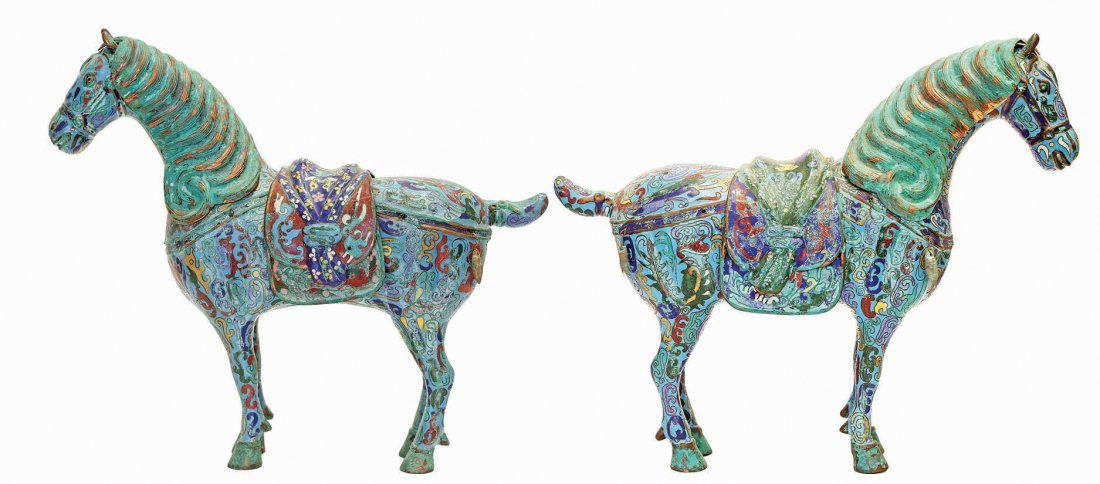 3: PAIR OF CHINESE CLOISONNÉ ENAMEL FIGURES OF HORSES