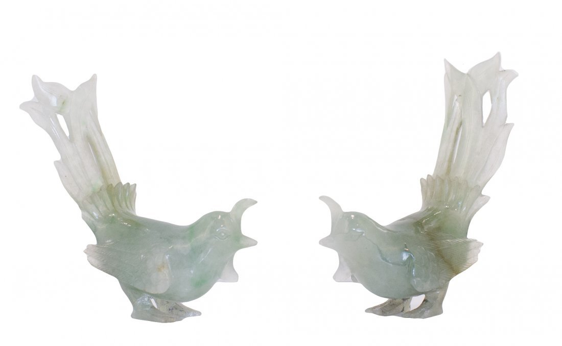 10: PAIR OF CHINESE CARVED JADEITE BIRDS