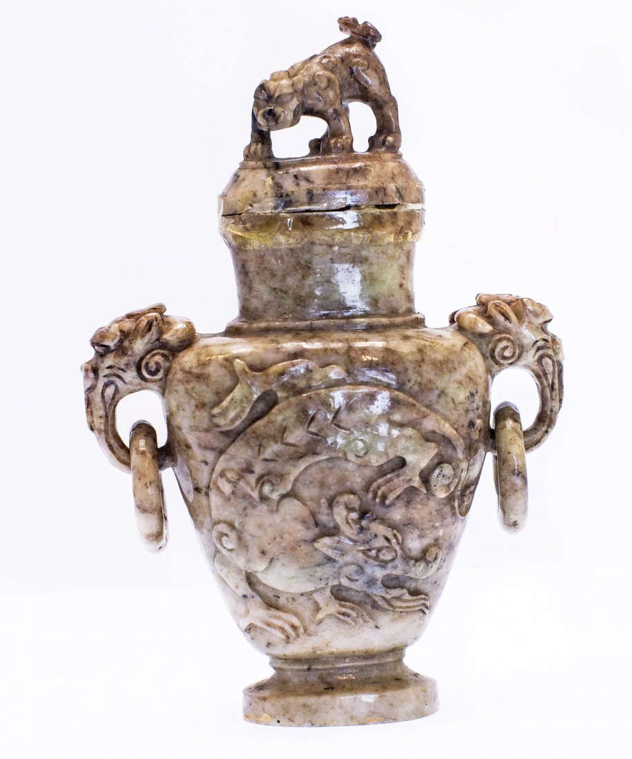 13: CHINESE CARVED JADE VASE AND COVER