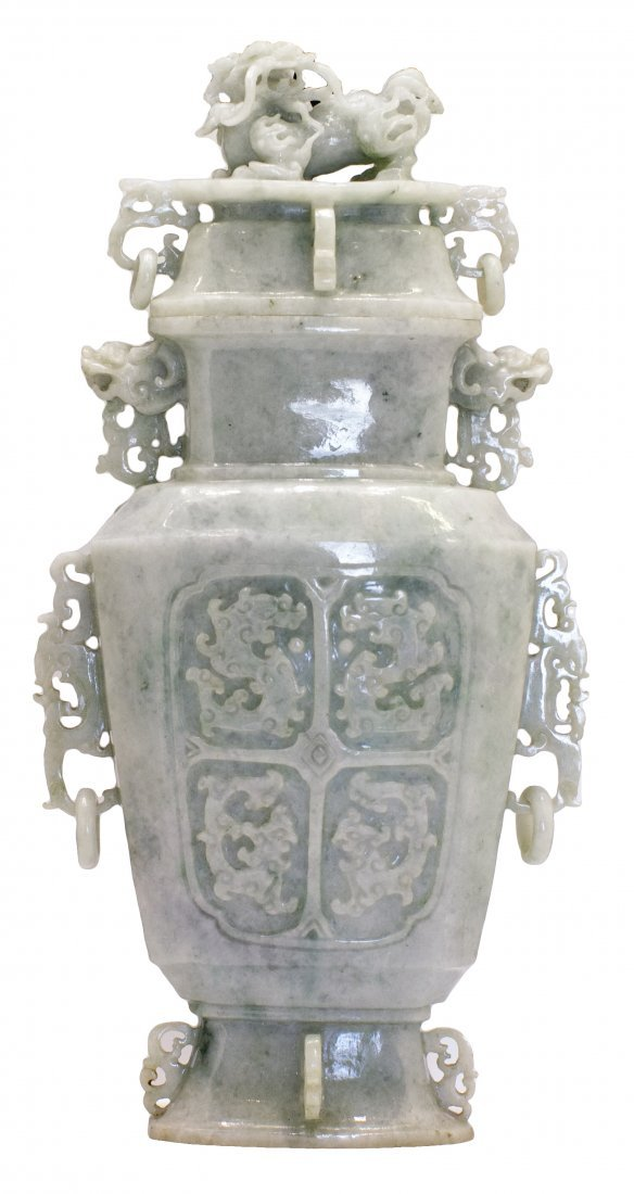 18: CHINESE CARVED JADEITE VASE AND COVER