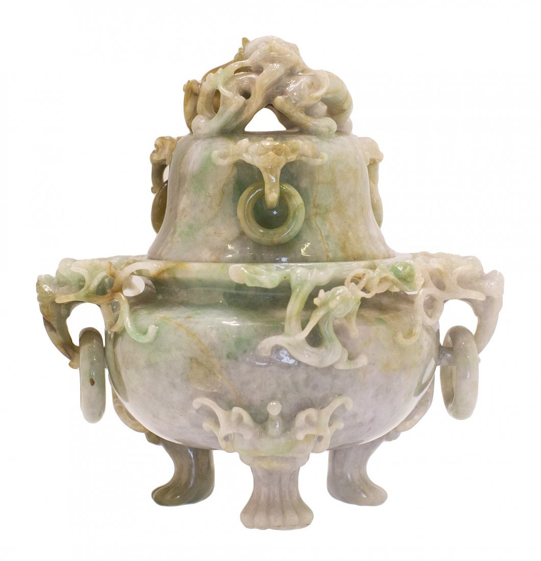 23: CHINESE CARVED JADEITE KORO AND COVER