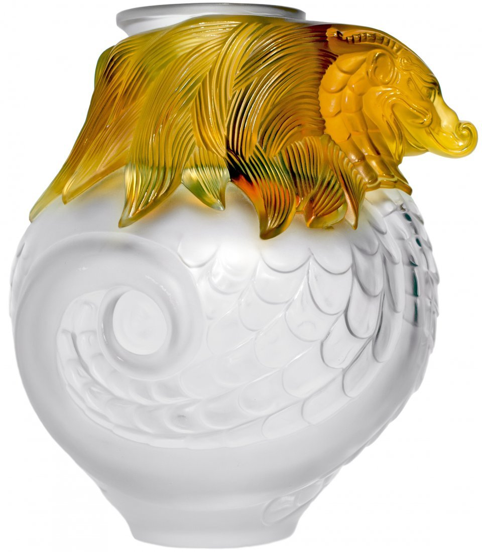 "LALIQUE MOLDED FROSTED & AMBER CRYSTAL ""IMPERIAL"" VASE"