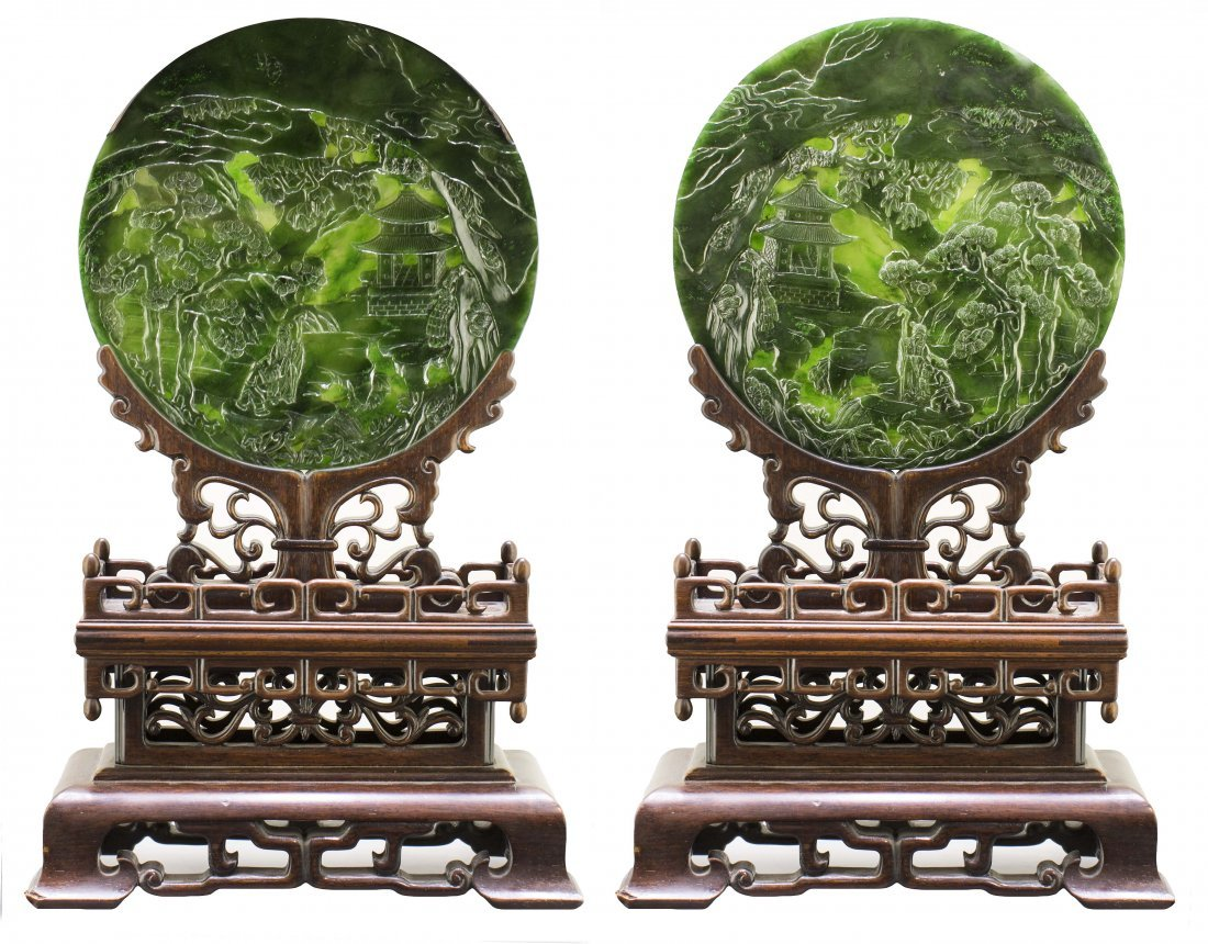 PAIR CHINESE CARVED SPINACH JADE CIRCULAR PLAQUES