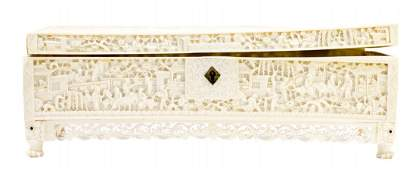 CHINESE CARVED IVORY CASKET