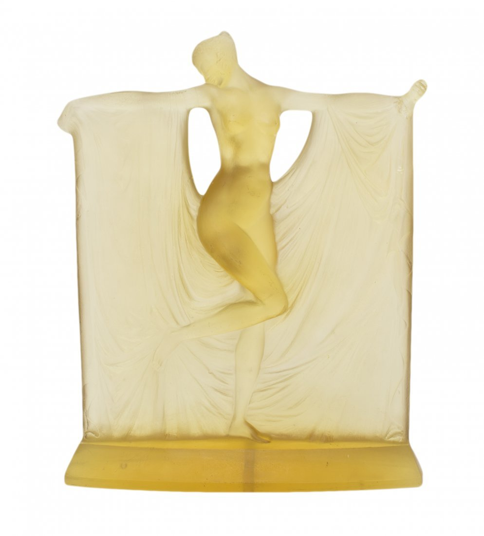 "RENE LALIQUE YELLOW GLASS ""SUZANNE"" CIRCA 1925 DAMAGED"