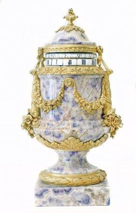 FRENCH GILT-BRONZE AMETHYST QUARTZ CLOCK, CIRCA 1870