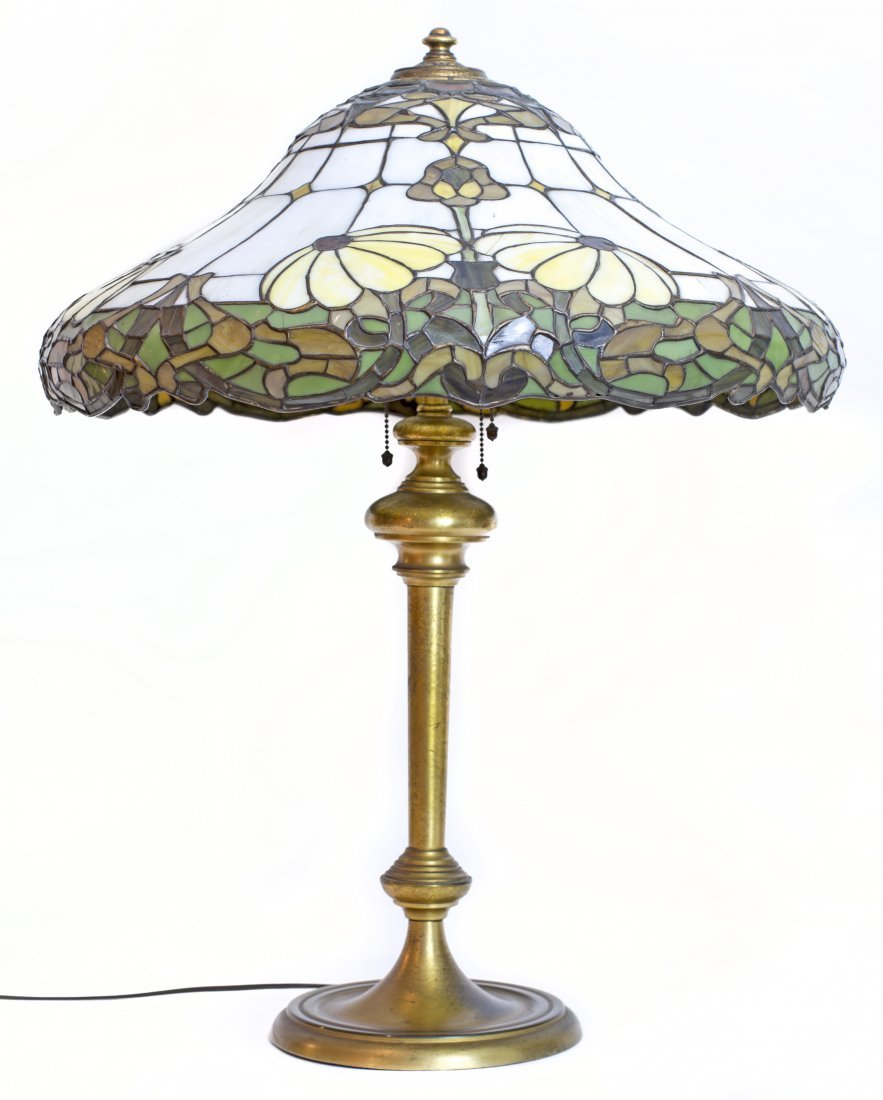 22: WILKINSON & CO. LEADED GLASS AND GILT-BRONZE LAMP
