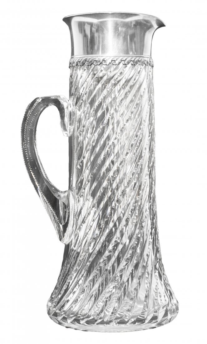 24: TIFFANY & CO STERLING SILVER MOUNTED GLASS PITCHER