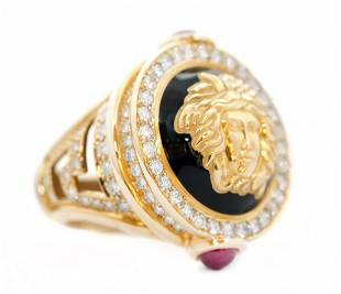 VERSACE 18KT YELLOW GOLD, DIAMOND, RUBY AND ENAMEL RING