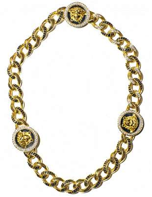 VERSACE 18KT YELLOW GOLD, DIAMOND AND ENAMEL NECKLACE
