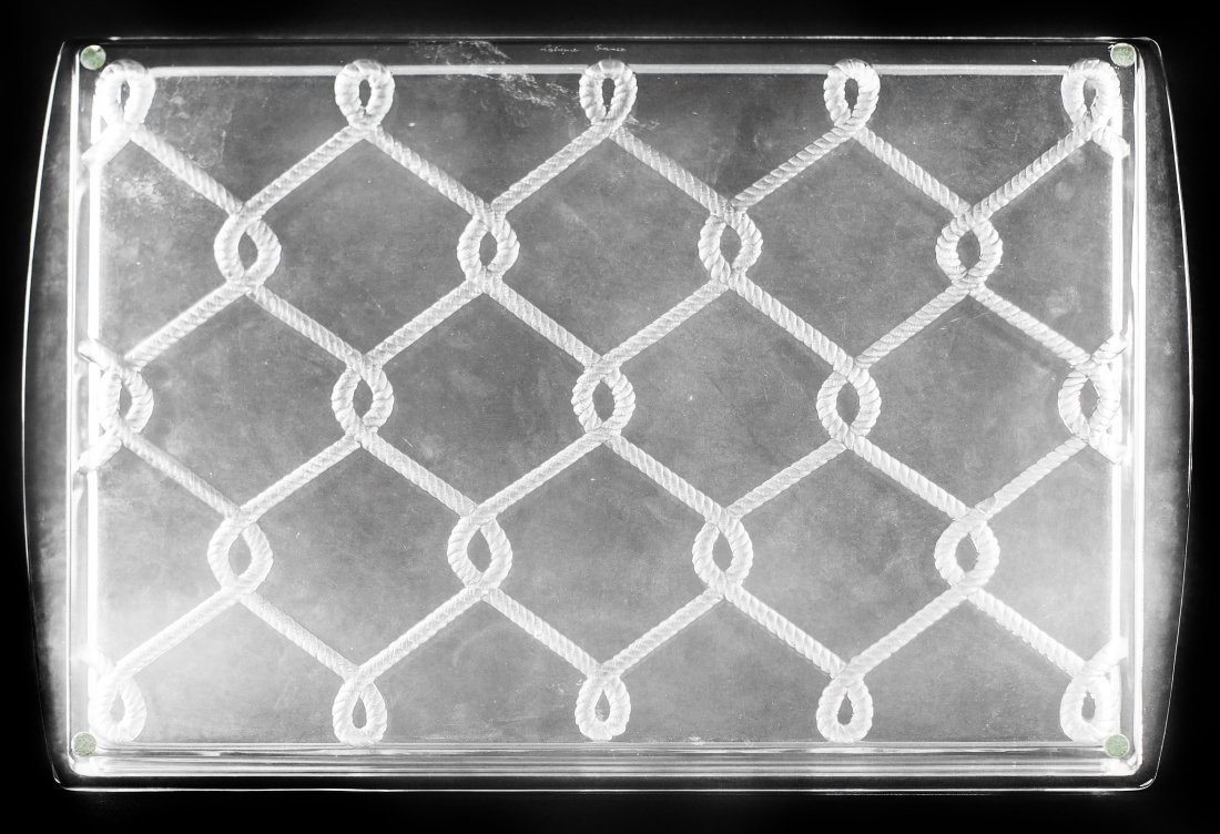 """LALIQUE CLEAR AND FROSTED """"RUBANS"""" TRAY"""