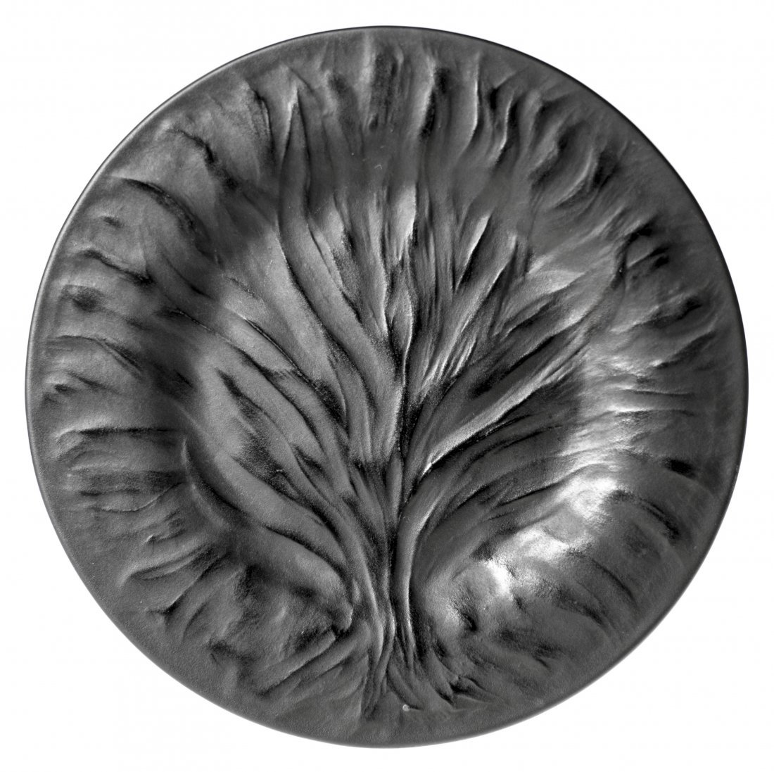 SET OF TEN LALIQUE BLACK FROSTED CRYSTAL ALGUES PLATES