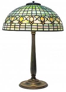 "TIFFANY STUDIOS ""POMEGRANATE"" GLASS AND BRONZE LAMP"