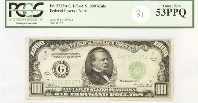 1934A ONE THOUSAND ($1,000) DOLLAR FEDERAL RESERVE NOTE